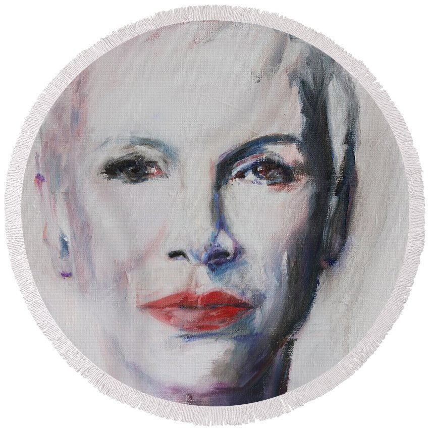 Annie Lennox Round Beach Towel featuring the painting There Must Be An Angel by Christel Roelandt