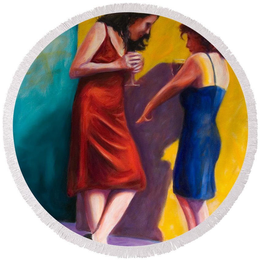 Figurative Round Beach Towel featuring the painting There by Shannon Grissom
