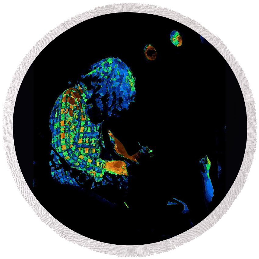 Rock Musicians Round Beach Towel featuring the photograph There's A Cosmic Light 2 by Ben Upham