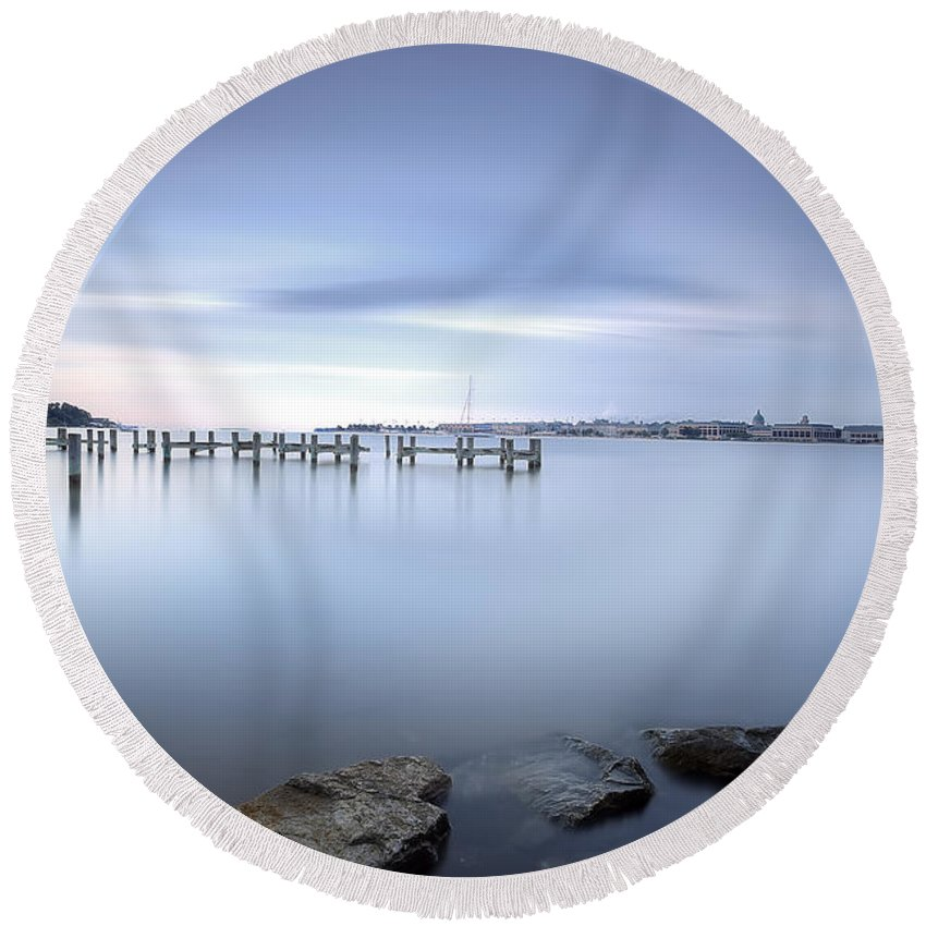 Light Round Beach Towel featuring the photograph These Waters Are My Canvas by Edward Kreis