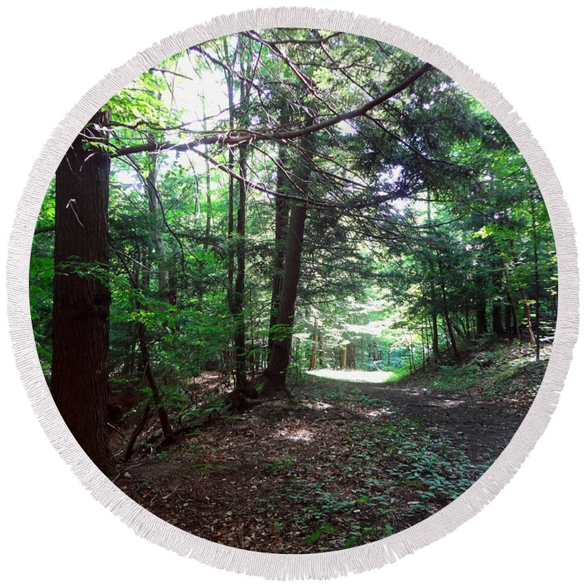 Landscape Round Beach Towel featuring the photograph These Woods by Lorraine Baum