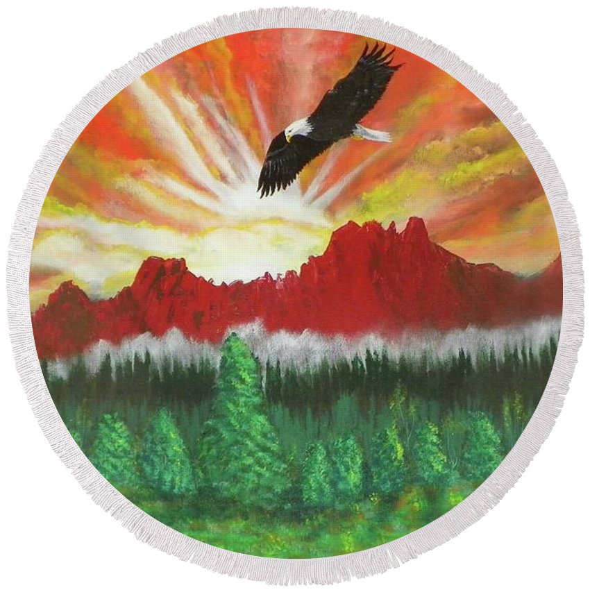 Acrylic Round Beach Towel featuring the painting They That Wait Upon The Lord  Isa 40 31 by Laurie Kidd
