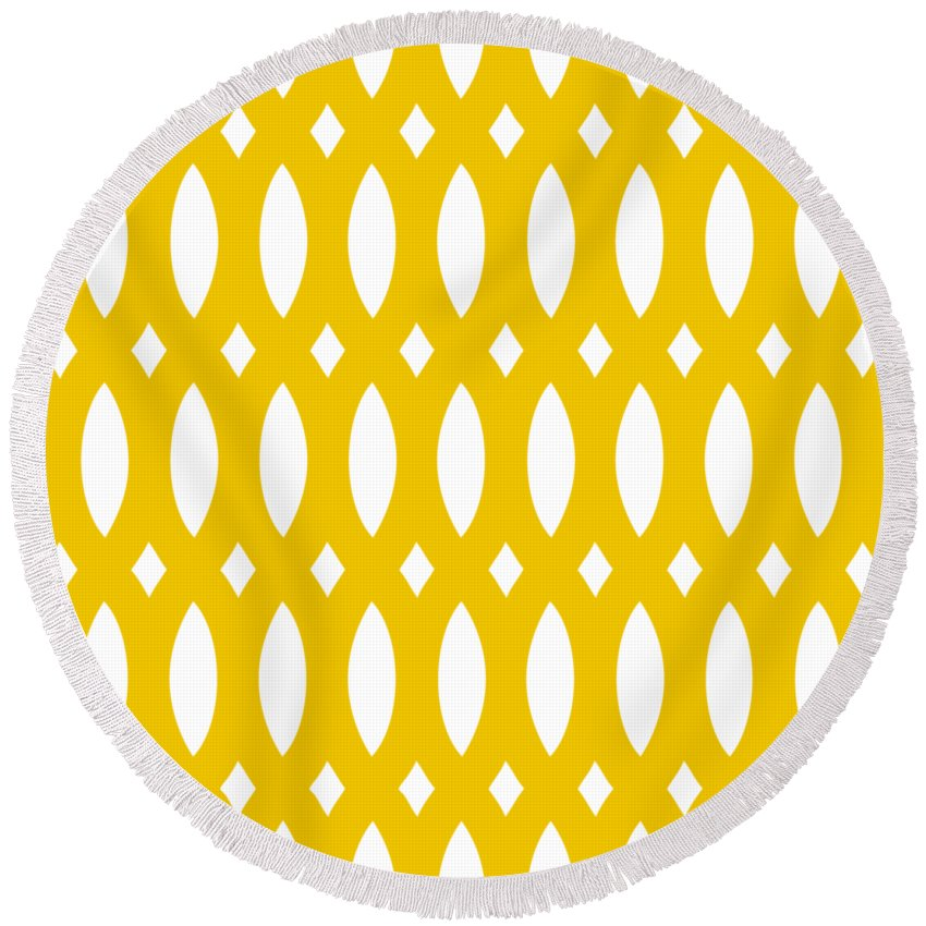 Thick Curved Trellis Round Beach Towel featuring the digital art Thick Curved Trellis With Border In Mustard by Custom Home Fashions