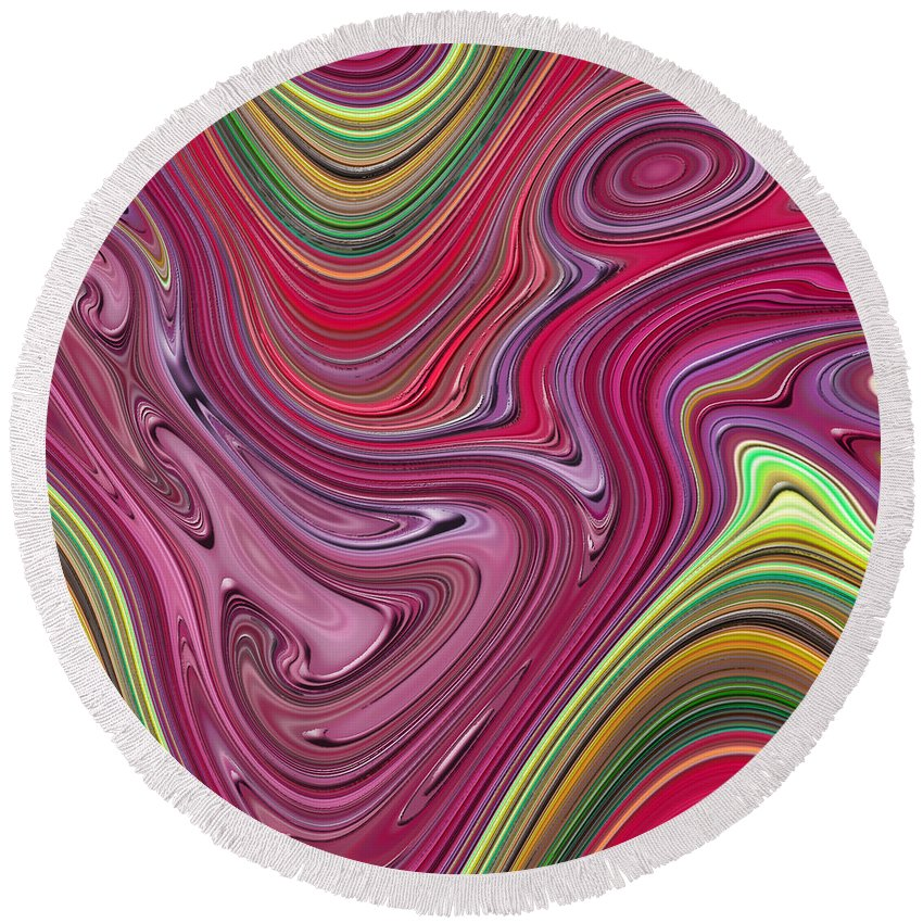 Colorful Round Beach Towel featuring the digital art Thick Paint Abstract by Melissa A Benson