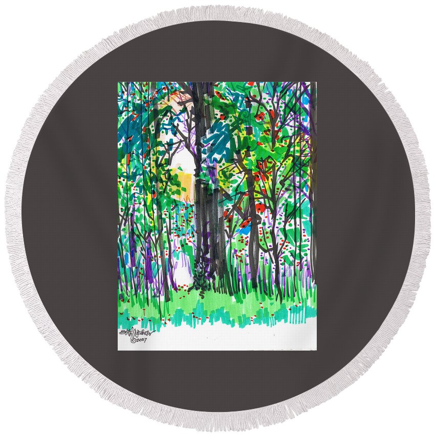 Forest Round Beach Towel featuring the drawing Thicket by Seth Weaver