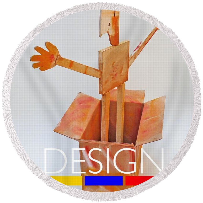 De Stijl Round Beach Towel featuring the digital art Think Outside The Box by Charles Stuart