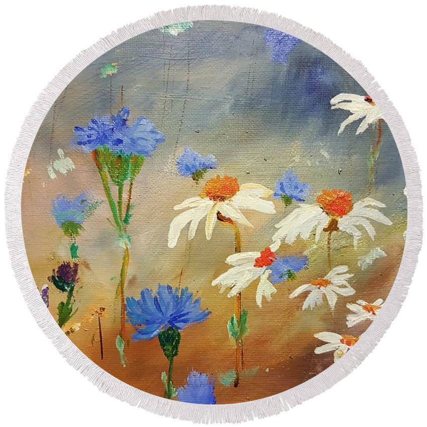 Batchelor Buttons Round Beach Towel featuring the painting Think Spring by Cheryl Nancy Ann Gordon
