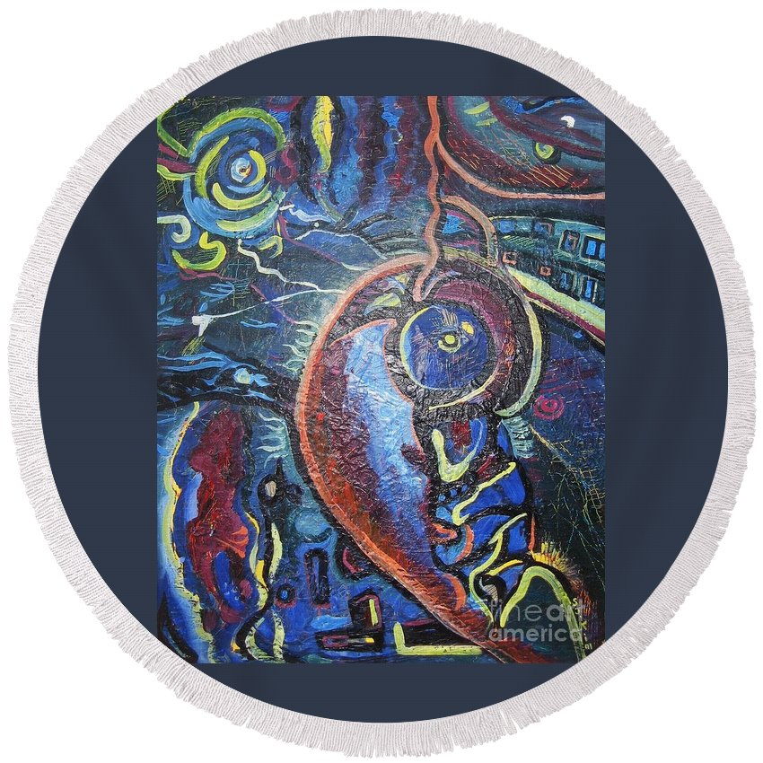 Abstract Contemporary Home Blue Oil Canvas Board Round Beach Towel featuring the painting Thinking Of Home by Seon-Jeong Kim
