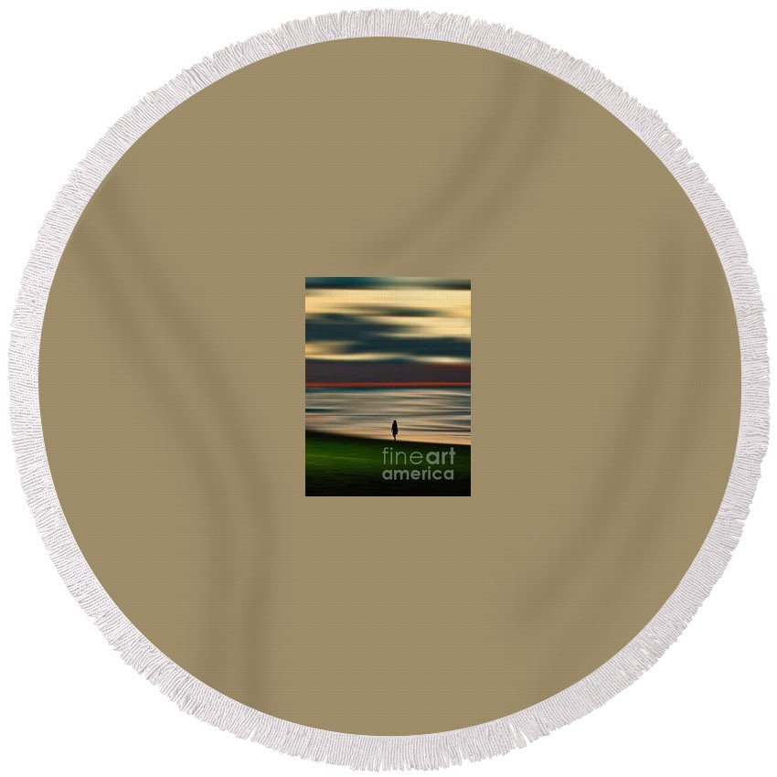 Round Beach Towel featuring the photograph Thinking Poetry by Vanessa bush