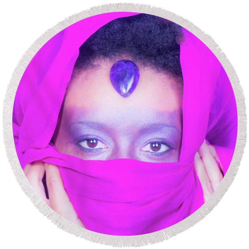 Third Eye Chakra Round Beach Towel featuring the photograph Third Eye by Iysha Medley