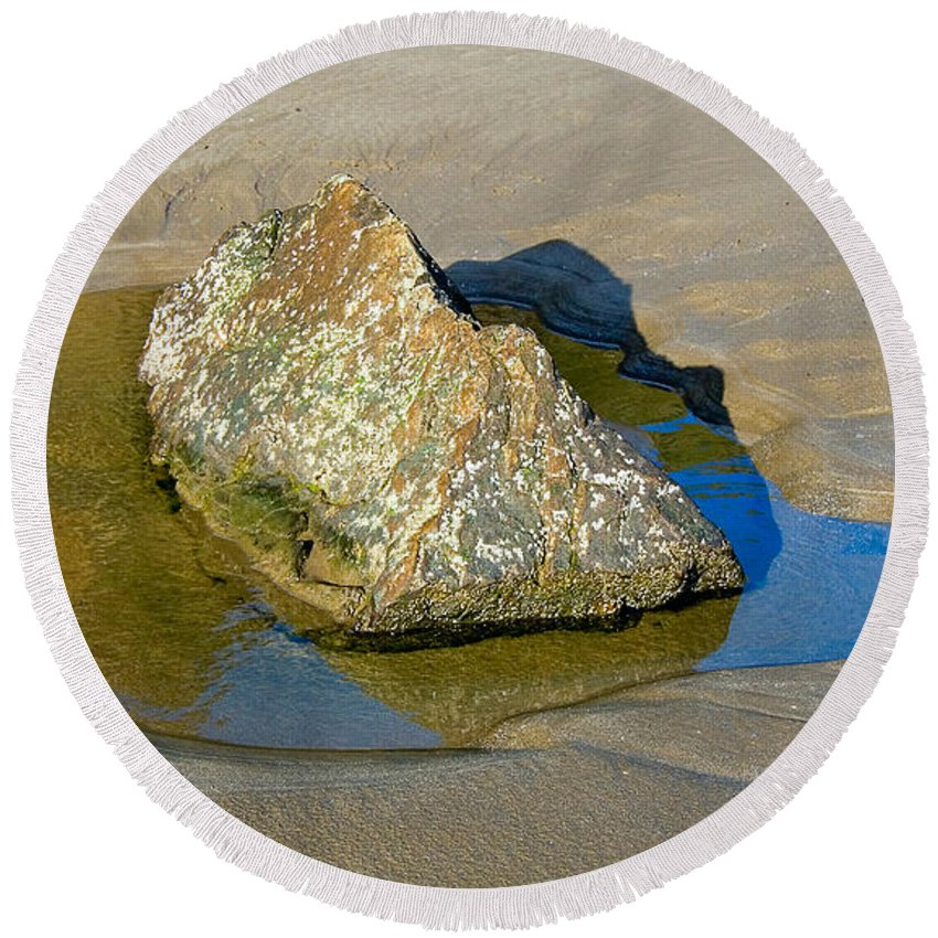 Rock Round Beach Towel featuring the photograph Third Study Of A Rock by Louise Heusinkveld