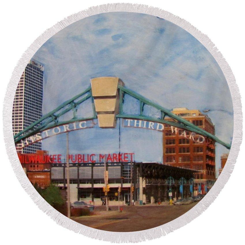 Milwaukee Round Beach Towel featuring the mixed media Third Ward Arch Over Public Market by Anita Burgermeister