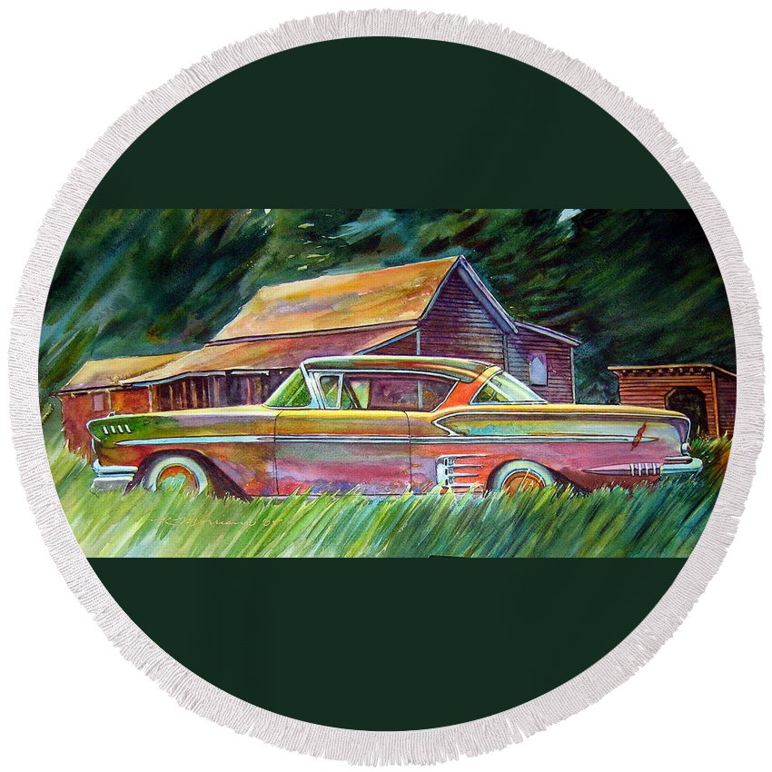 Rusty Car Chev Impala Round Beach Towel featuring the painting This Impala Doesn by Ron Morrison