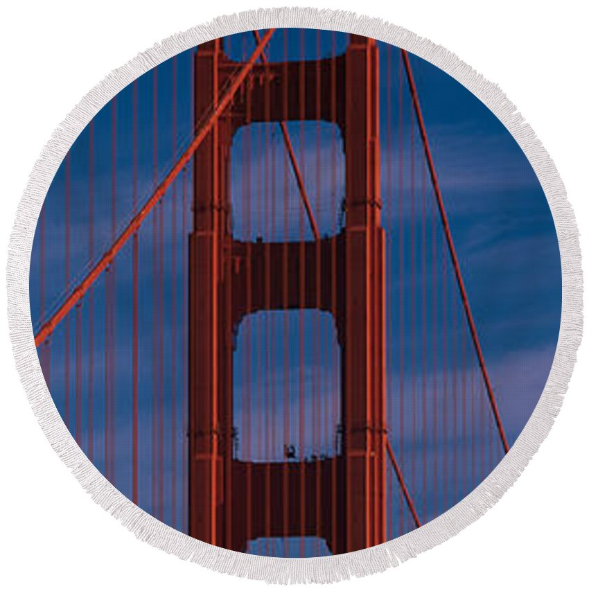 Photography Round Beach Towel featuring the photograph This Is A Close Up Of The Golden Gate by Panoramic Images