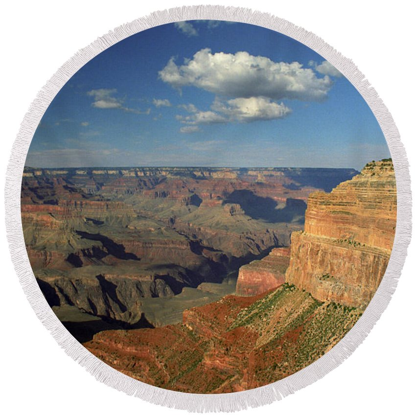 Grand Canyon Round Beach Towel featuring the photograph This Is My Father's World by Kathy McClure