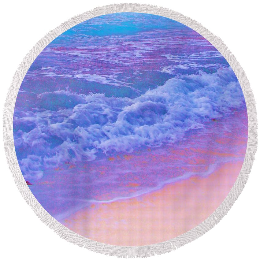 Contemporary Round Beach Towel featuring the photograph This Is One Hot Beach by Margaret Bobb
