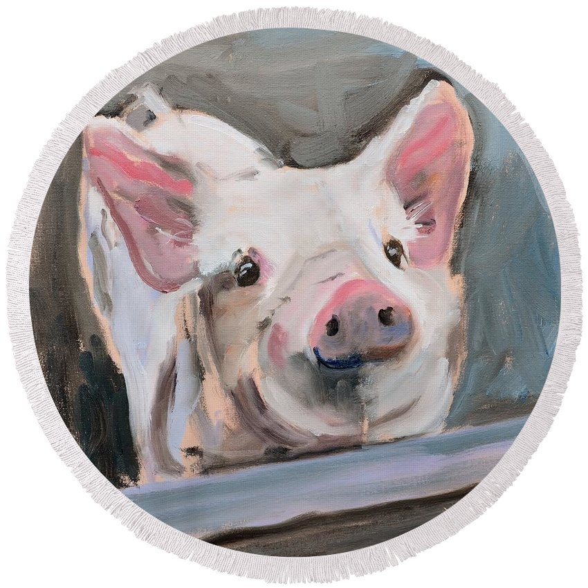 Pig Round Beach Towel featuring the painting This Little Piggy by Donna Tuten