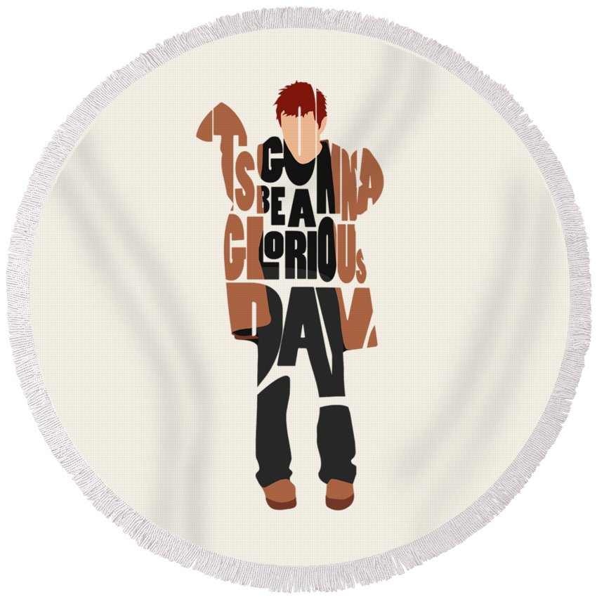 Thom Yorke Round Beach Towel featuring the digital art Thom Yorke Typography Art by Inspirowl Design