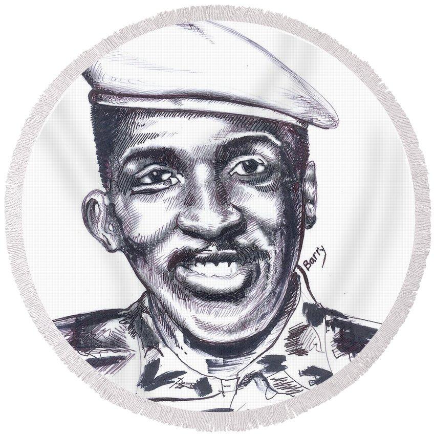 Portrait Round Beach Towel featuring the painting Thomas Sankara 02 by Emmanuel Baliyanga