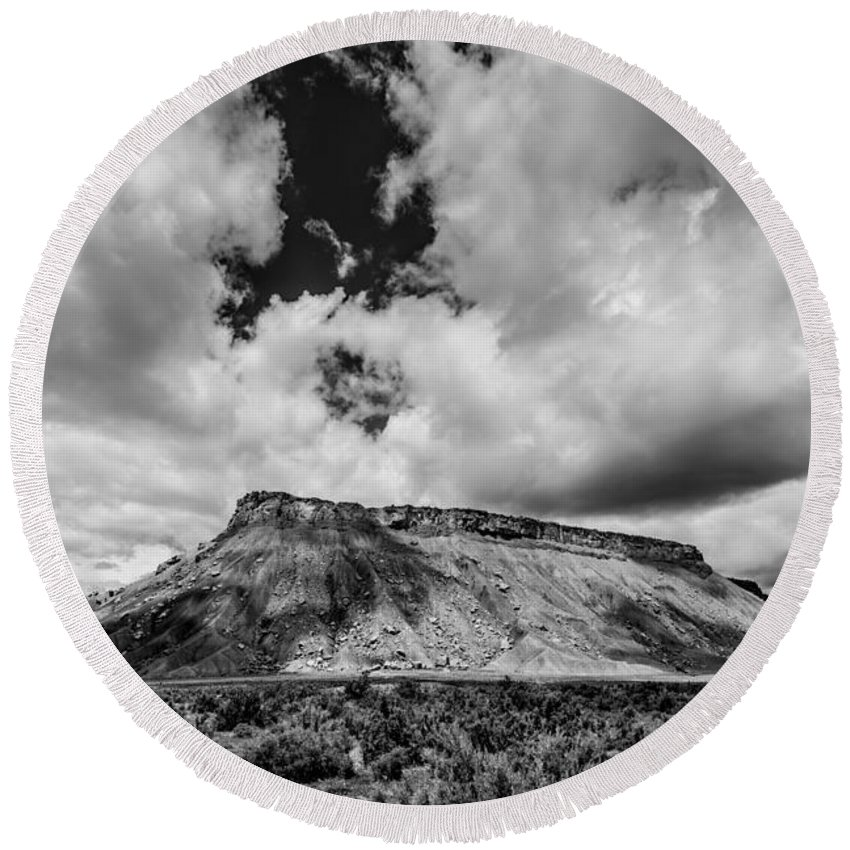 Thompson Springs Round Beach Towel featuring the photograph Thompson Springs Gathering Thunderstorm - Utah by Gary Whitton