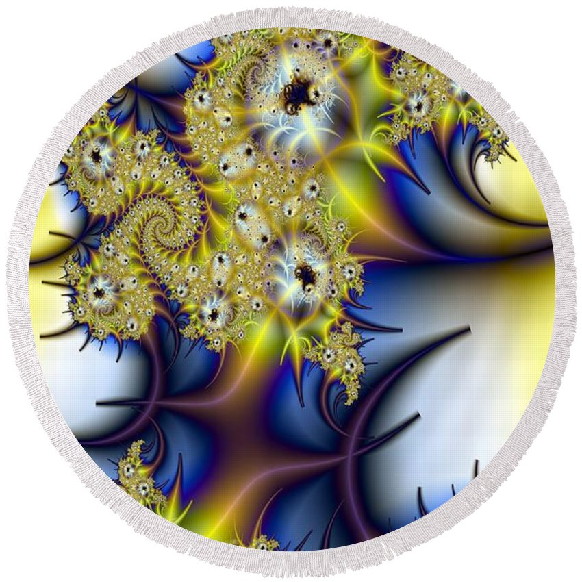 Fractal Round Beach Towel featuring the digital art Thorned Flower by Ron Bissett