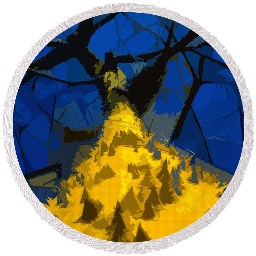 Blue Sky Round Beach Towel featuring the painting Thorny Tree Blue Sky by David Lee Thompson