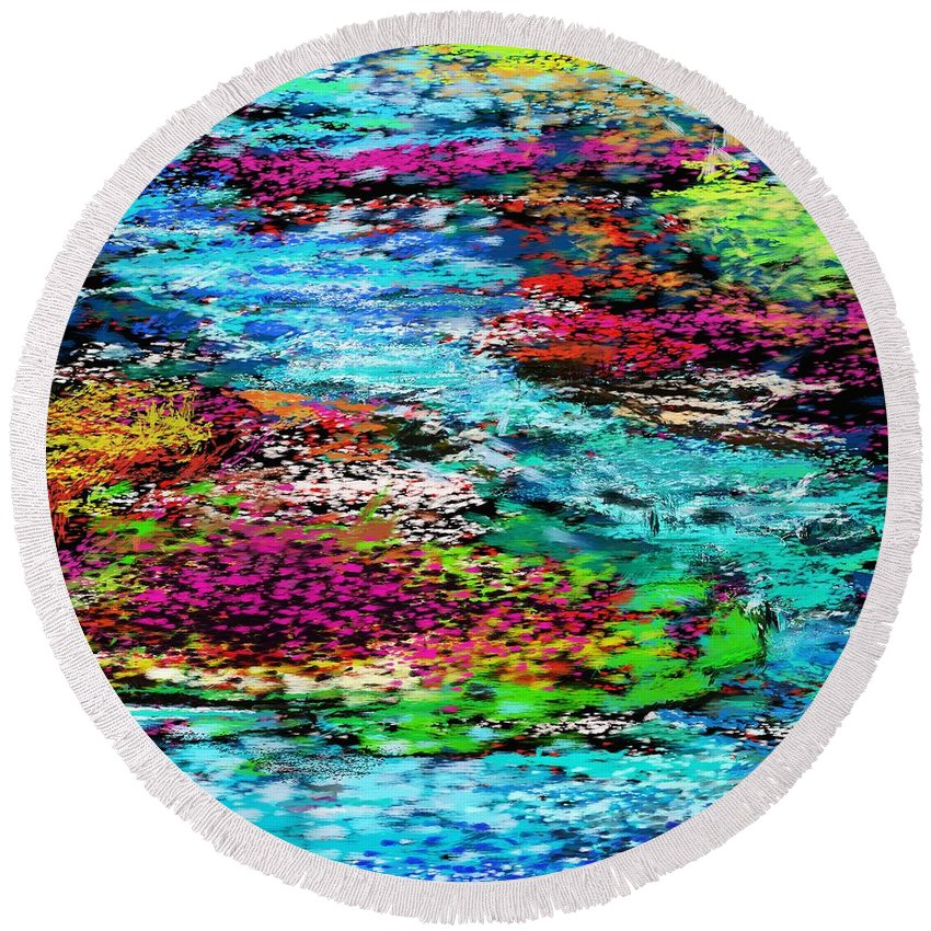 Abstract Round Beach Towel featuring the digital art Thought Upon A Stream by David Lane
