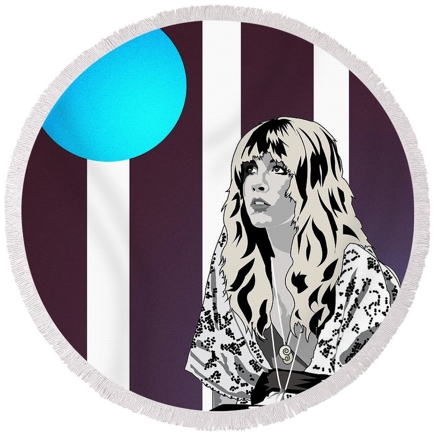 Stevie Nicks Thoughtful Quiet Dreams Music Round Beach Towel featuring the digital art Thoughtful Stevie by Andy Donald