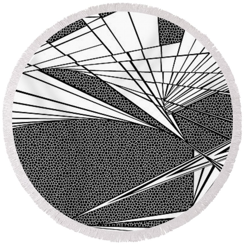 Dynamic Black And White Round Beach Towel featuring the painting Thoughts Churning by Douglas Christian Larsen