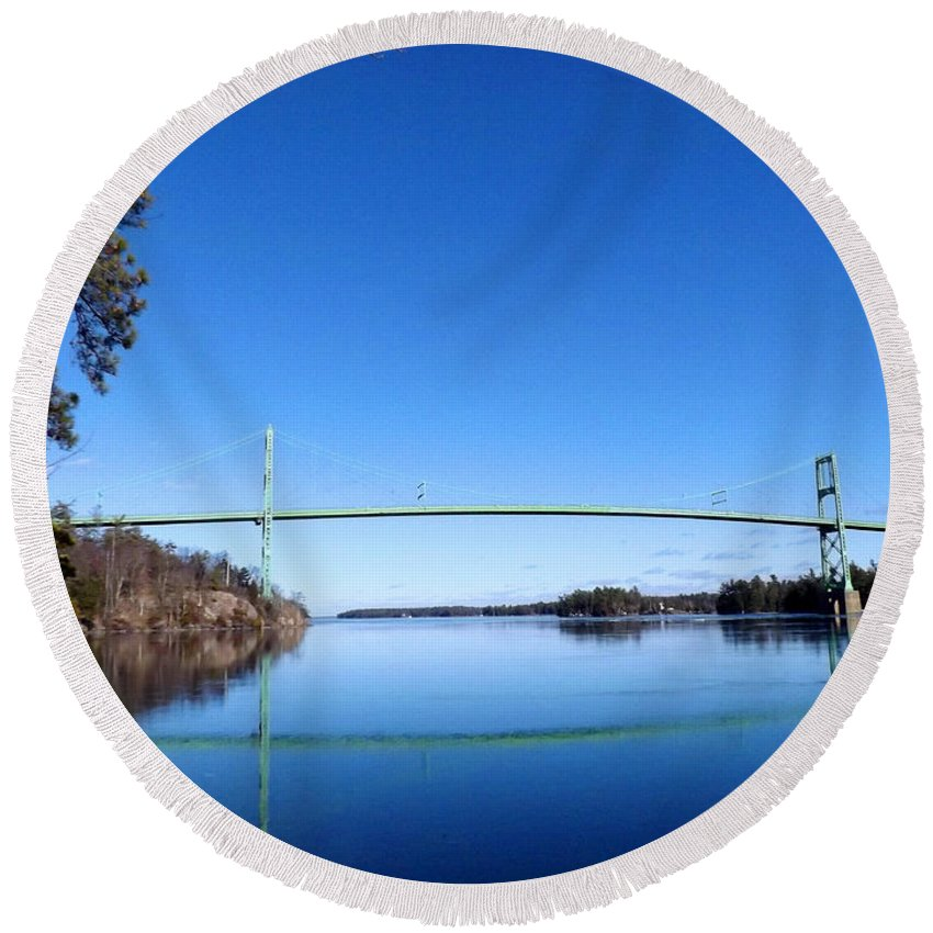 Landscape Round Beach Towel featuring the photograph Thousand Islands Bridge by Samuel Forestell Photography