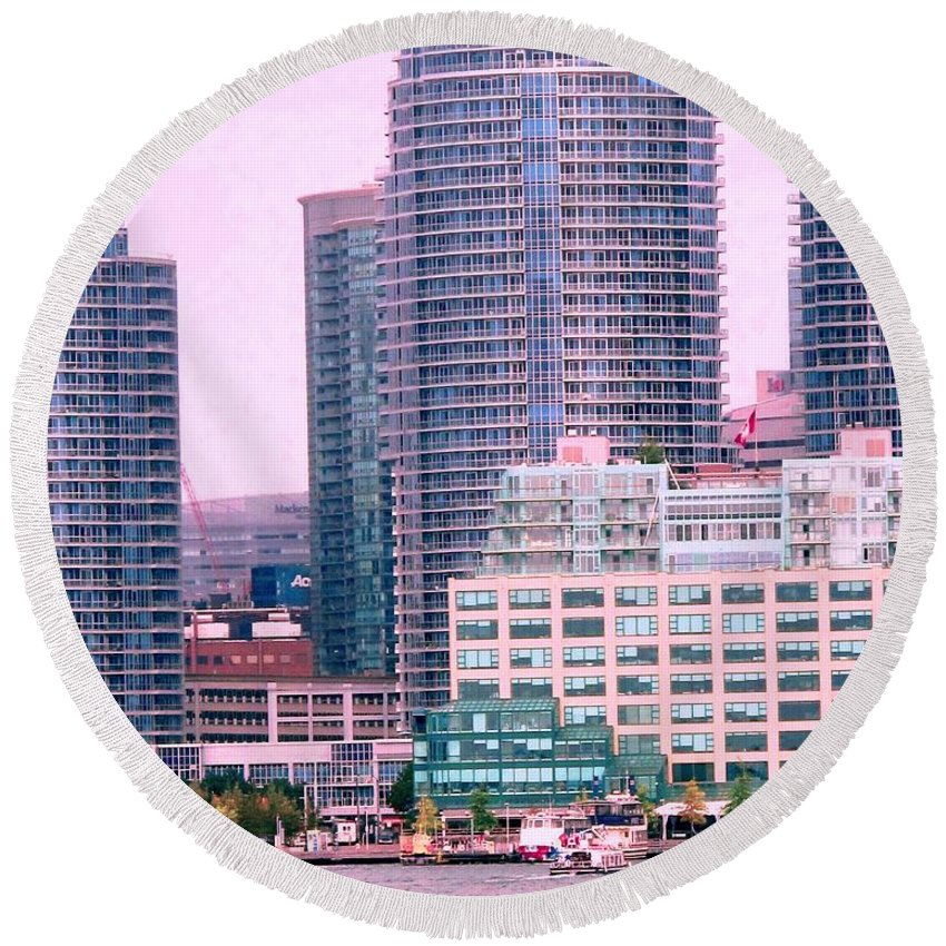 Toronto Round Beach Towel featuring the photograph Thousands Of Windows On The Harbor by Ian MacDonald