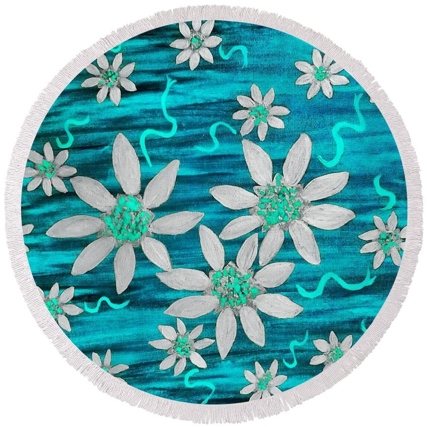 Blue Round Beach Towel featuring the painting Three And Twenty Flowers On Blue by Rachel Hannah