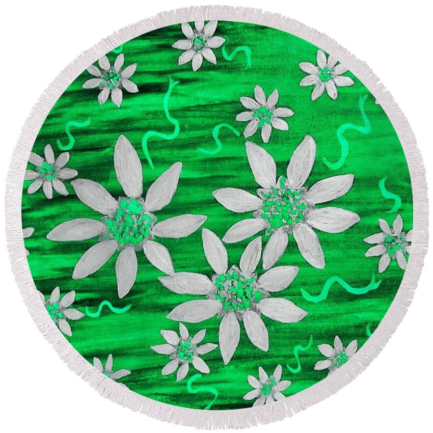 Green Round Beach Towel featuring the painting Three And Twenty Flowers On Green by Rachel Hannah