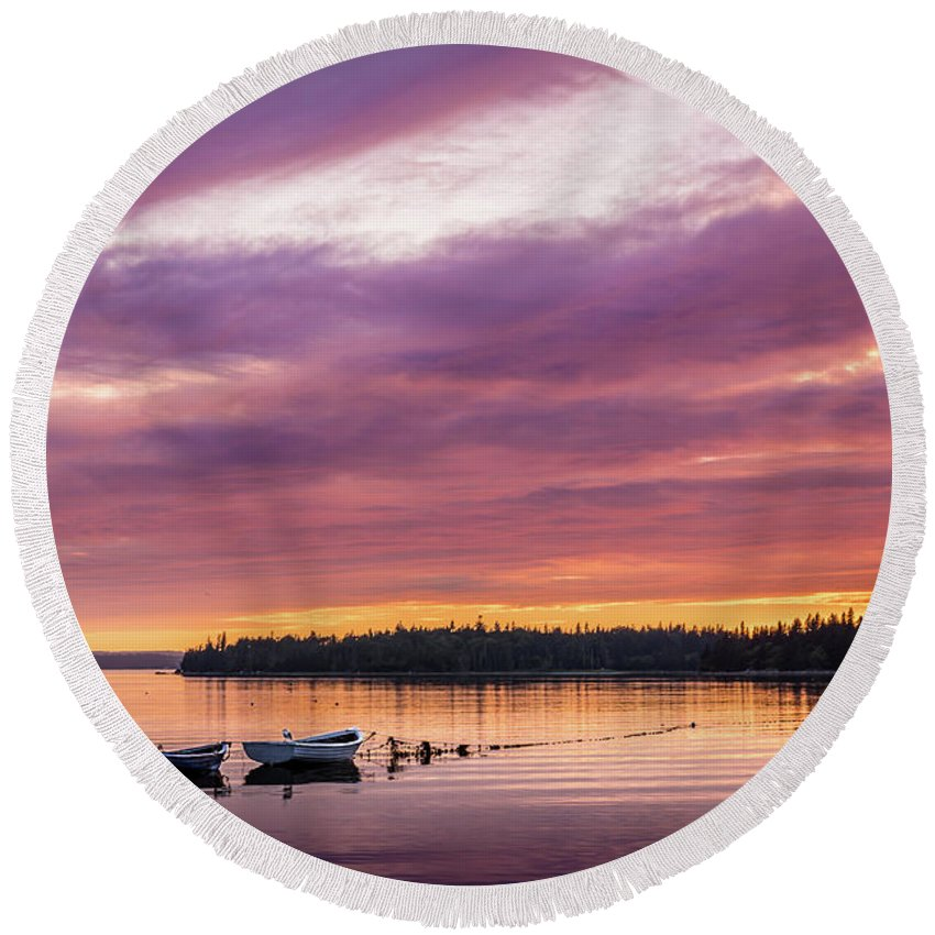 Three Round Beach Towel featuring the photograph Three Boats In French Village, Nova Scotia #2 by Mike Organ