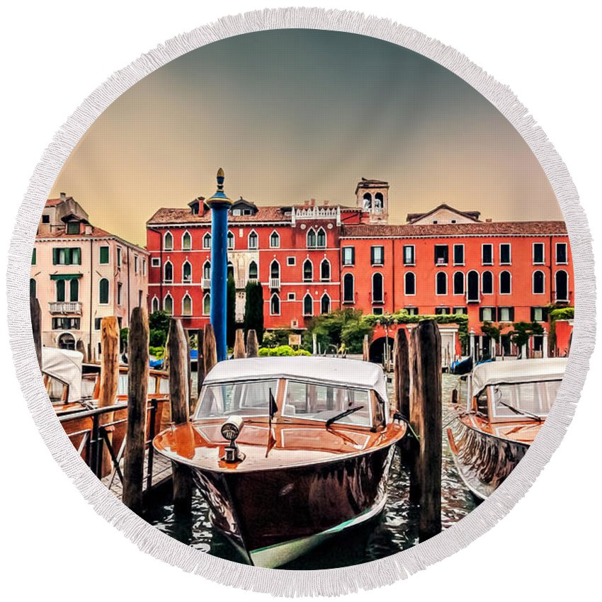 Architecture Round Beach Towel featuring the photograph Three Boats by Maria Coulson