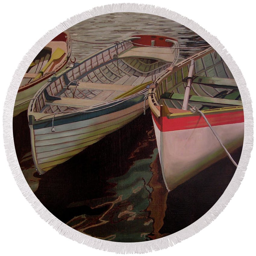 Boats Round Beach Towel featuring the painting Three Boats by Thu Nguyen
