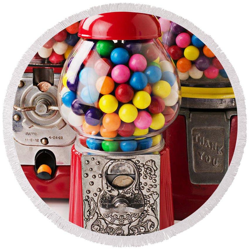 Gum; Bubble Gum; Machine; Vendor; Old Fashion; Antique Round Beach Towel featuring the photograph Three Bubble Gum Machines by Garry Gay