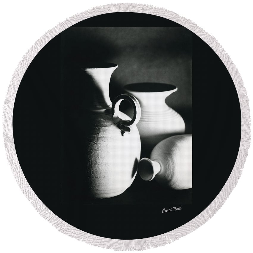 Black & White Round Beach Towel featuring the painting Three Clay Jars 1 by Carol Neal-Chicago