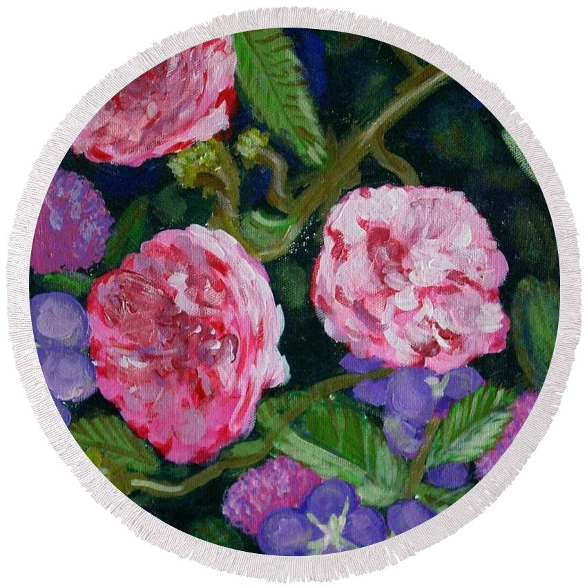 Roses Round Beach Towel featuring the painting Three For The Show by Laurie Morgan
