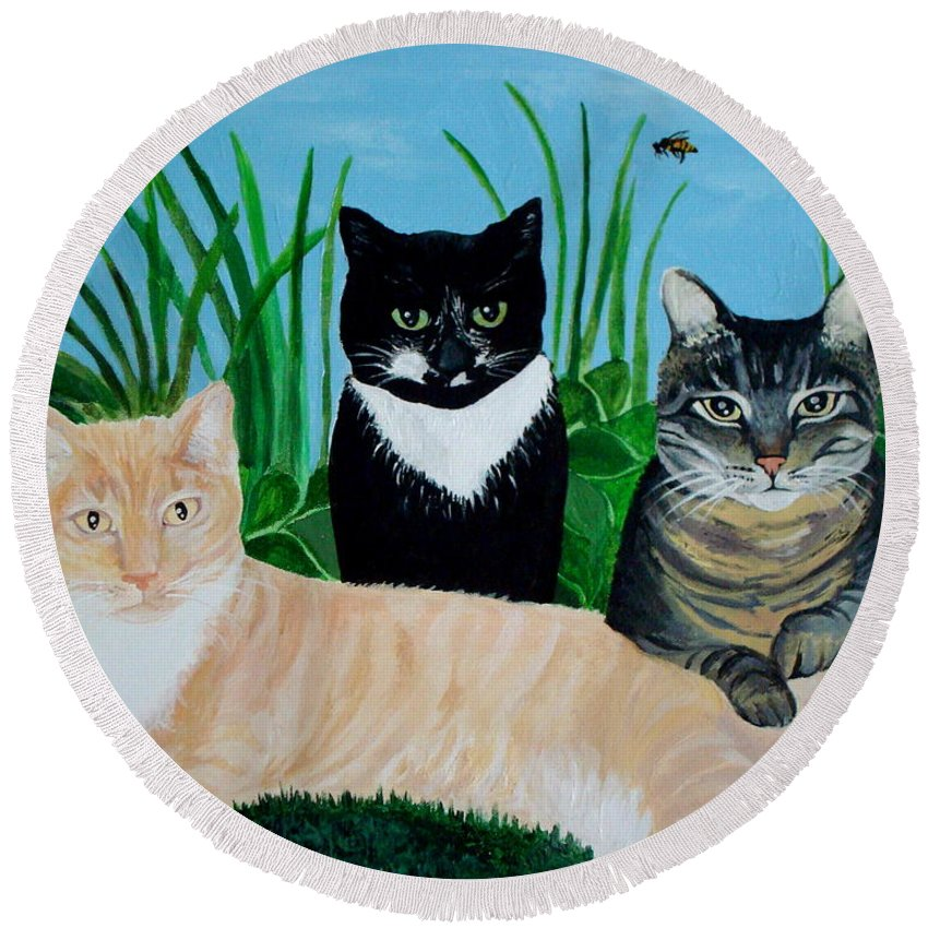 Landscape Round Beach Towel featuring the painting Three Furry Friends by Elizabeth Robinette Tyndall