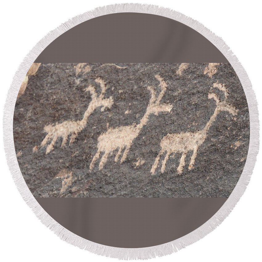 Native American Art Round Beach Towel featuring the photograph Three Goats by David Arment