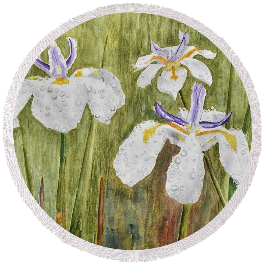 Linda Brody Round Beach Towel featuring the painting Three Irises In The Rain by Linda Brody