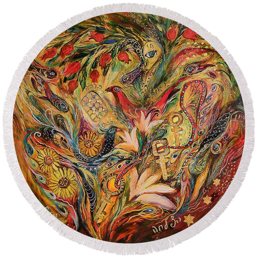 Original Round Beach Towel featuring the painting Three Keys by Elena Kotliarker