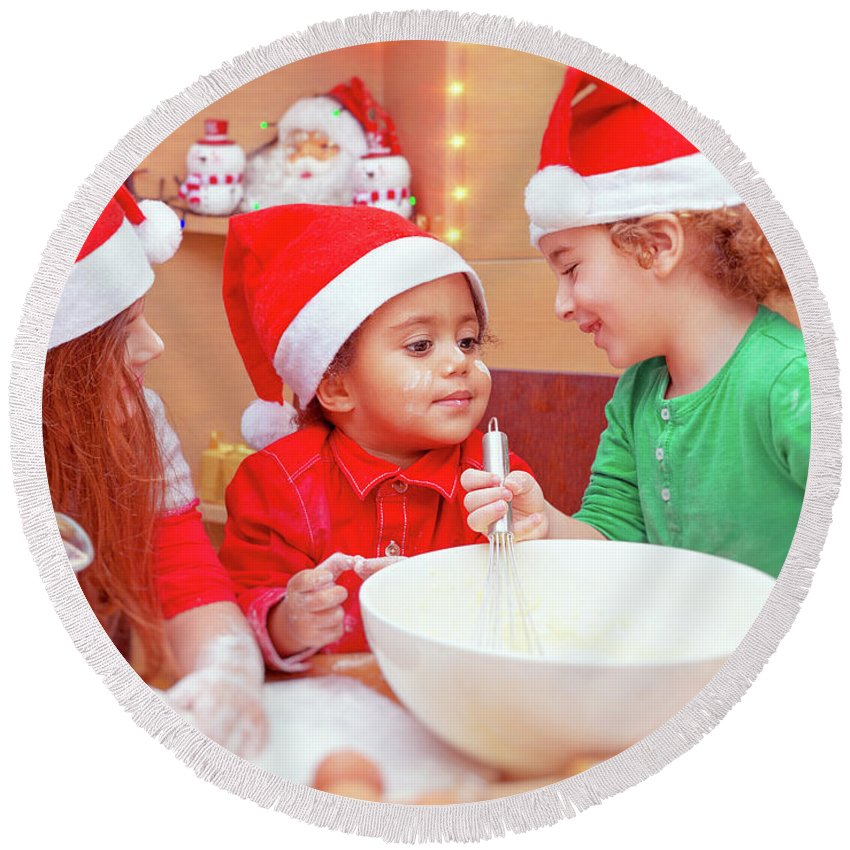 African American Round Beach Towel featuring the photograph Three Kids Making Christmas Cookies by Anna Om