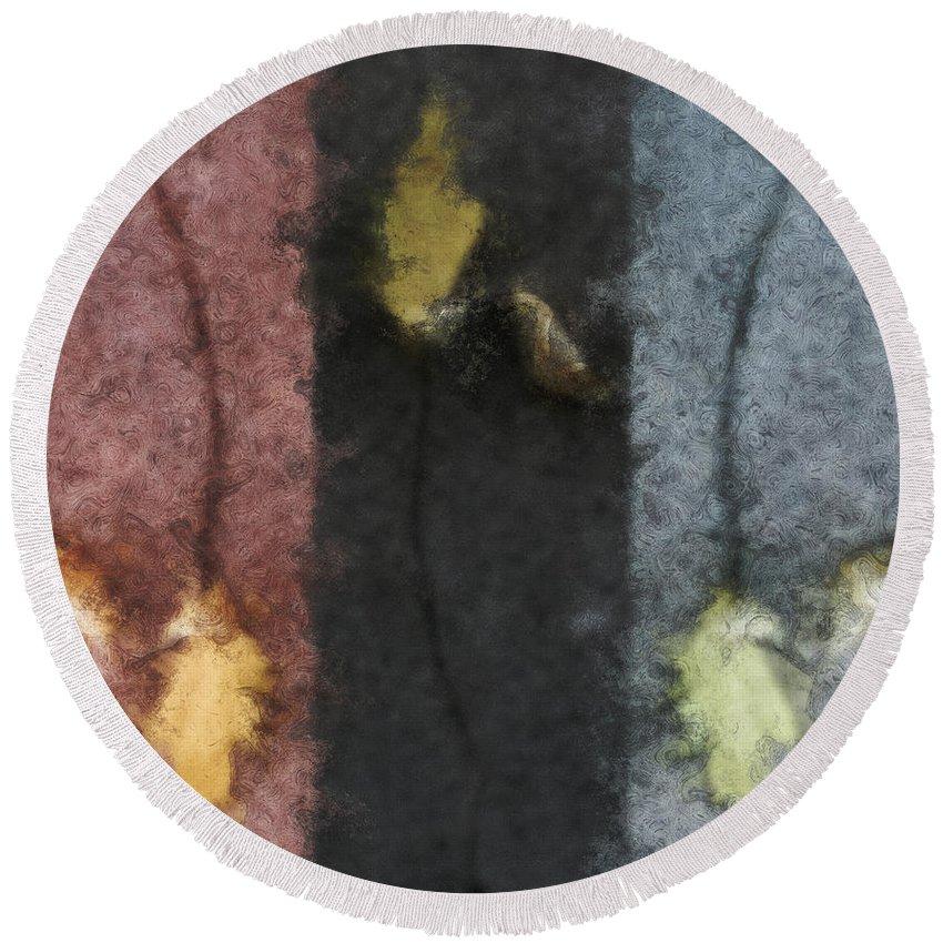 Impressionist Round Beach Towel featuring the digital art Three Leaves by RC DeWinter