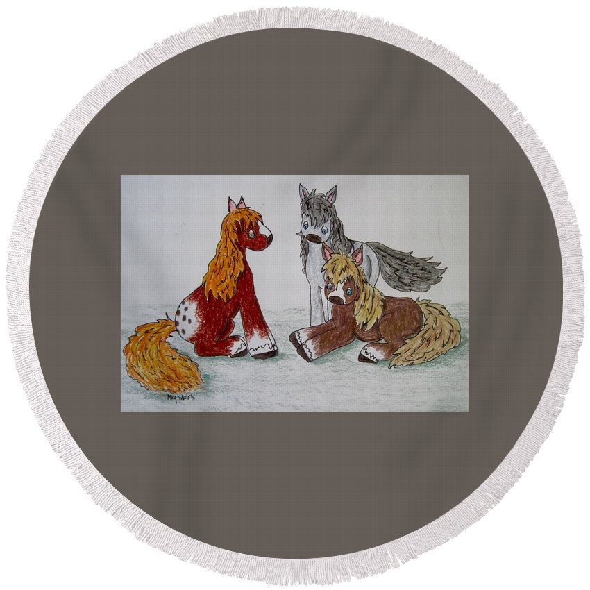 Horses Round Beach Towel featuring the drawing Three Little Ponies by Megan Walsh