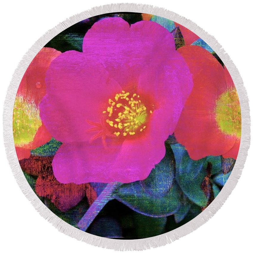 Alicegipsonphotographs Round Beach Towel featuring the photograph Three Lovely Flowers by Alice Gipson