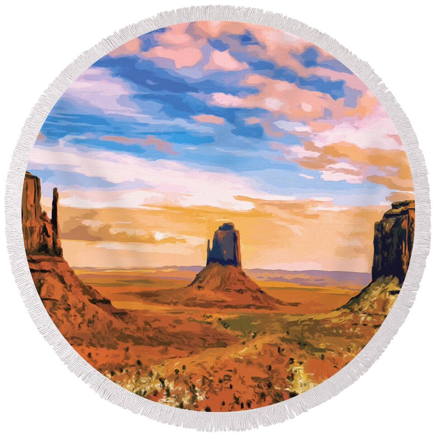 Mesa Round Beach Towel featuring the painting Three Mesas by Dominic Piperata