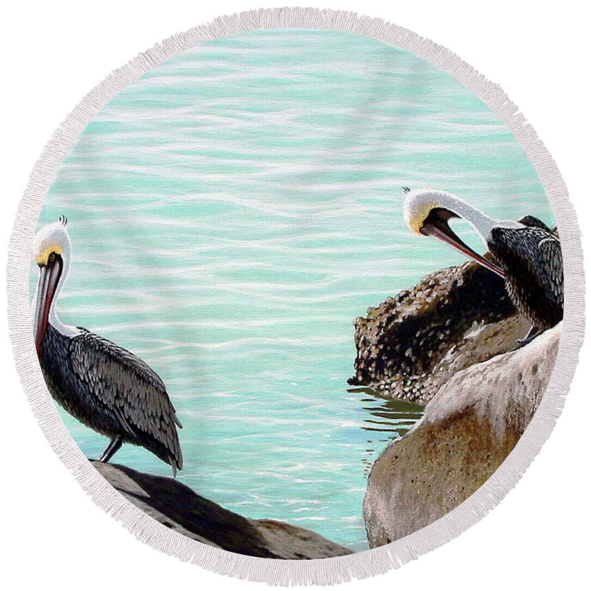 Pelicans Round Beach Towel featuring the painting Three On The Rocks by Michael Nowak