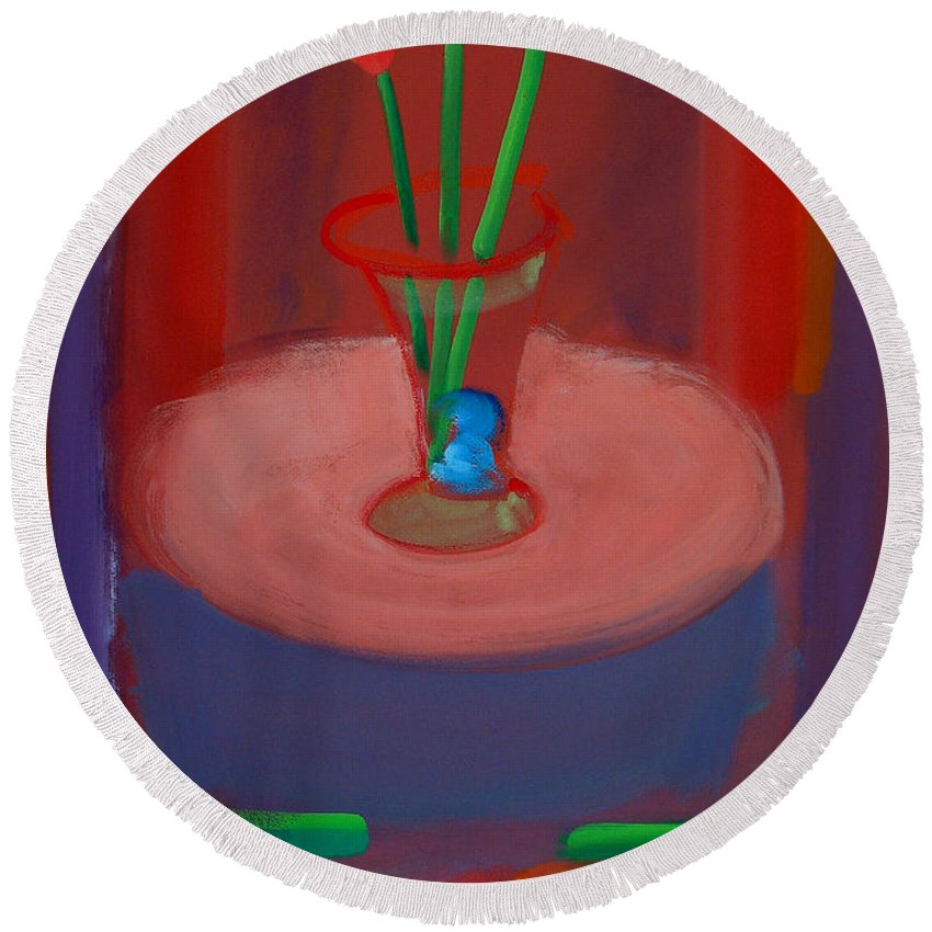 Poppies Round Beach Towel featuring the painting Three Poppies In A Vase by Charles Stuart